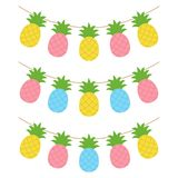 Colorful pineapple tropical fruit garland vector illustration
