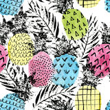 Colorful pineapple with watercolor and grunge textures seamless pattern Stock Image
