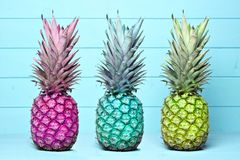Colorful pineapples on a pastel blue wood background Royalty Free Stock Image
