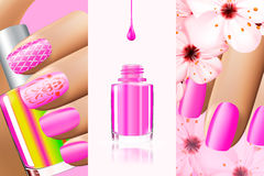 Colorful pink collection of nail designs for summer and spring. Vector 3d illustration. Nailpolish lacquer ads, nail. Polish splatter on white background Royalty Free Stock Images