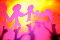 Colorful pink cutout figures Royalty Free Stock Images