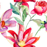 Colorful pink flowers, seamless pattern Royalty Free Stock Photos