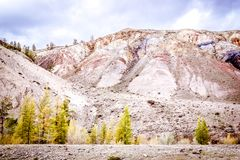 Colorful pink hills under the Sunny sky Stock Images