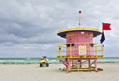 Colorful pink lifeguard house in Miami Beach Royalty Free Stock Photography