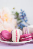 Colorful pink macaroons with shallow focus. Colorful macaroons on pink table with defocused spring flowers on background. Shallow focus royalty free stock photo