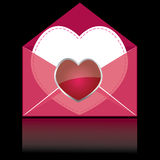 Colorful pink mail with heart. And white paper for you  . vector illustration Stock Images