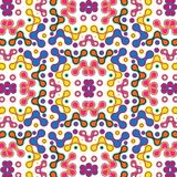 Colorful pink, orange and blue symmetrical pattern over white background vector illustration