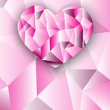 Polygon heart absrtact background. Colorful Pink Polygon heart absrtact vector background illustion stock illustration