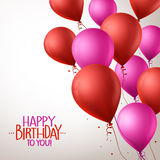 Colorful Pink and Red Happy Birthday Balloons Flying. 3d Realistic Colorful Pink and Red Happy Birthday Balloons Flying for Party and Celebrations With Space for Stock Photography