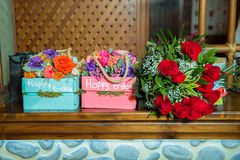 Colorful , pink and red square bouquet. Happy b-day textures. Happy birthday stock photos