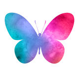 Colorful_pink-red_watercolor_butterfly 图库摄影