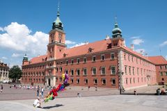 Restored Royal Palace in old town of Warsaw. The colorful pink Royal Place building in the Old Town district of Warsaw Poland royalty free stock images