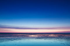 Colorful pink sunset over the North Sea Stock Image