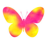 Colorful pink watercolor butterfly Stock Photos