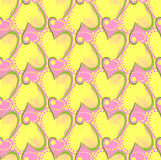Colorful pink, yellow heart vector seamless Stock Photo