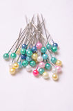 Colorful pins. Used for fastening objects or material together Stock Photos