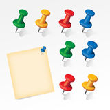 Colorful pins set with paper note Royalty Free Stock Photo