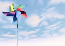 Colorful Pinwheel On Blue Sky Front Royalty Free Stock Photo