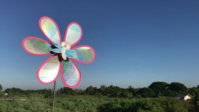 Colorful pinwheel toy against blue sky landscape stock video footage