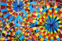 Colorful pinwheel toys. Which is hand craft and children popular things in holiday Stock Photos