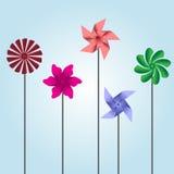 Colorful pinwheel toys eps10 Royalty Free Stock Photos