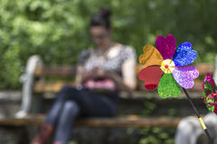 Colorful pinwheel wind stock photography