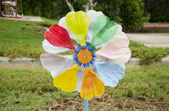 Colorful pinwheel and windmill toy Stock Images