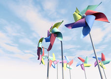 Colorful Pinwheels On Blue Sky Perspective Stock Image