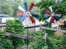 Colorful pinwheels. Patriotically colored pinwheels in Smithville, New Jersey, USA Stock Photo