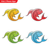 Colorful Pisces Zodiac Star Signs Sketch Stock Photo