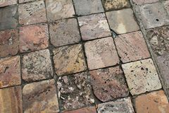 Colorful pitted stone tiles in Cuenca, Ecuador Royalty Free Stock Photo