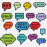 Colorful pixel art sale labels Stock Photography