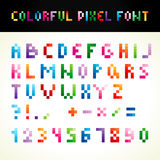 The colorful pixel font. ABC pixelated colored. Set of vector multicolored letters, numbers. Alphabet in pixels and various colors. A b c d e f g h i j k l m n Stock Photography