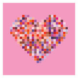 Colorful pixel heart shape in pink background Royalty Free Stock Image