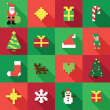 Colorful Pixel Pattern with Christmas Elements. In flat design style Royalty Free Stock Image