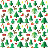 Colorful Pixel Pattern with Christmas Elements in forest. Colorful cute Pixel Pattern with Christmas Elements in forest Royalty Free Stock Photography