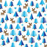 Colorful Pixel Pattern with winter wonderland Elements. Colorful seamless pixel pattern with winter wonderland elements and cute reindeers all in retro game Stock Photos