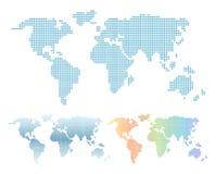 Colorful pixel world map set. Blue and rainbow gradient pixels world map in squares. Colorful pixel world map set. Blue and rainbow gradient pixels world map royalty free illustration