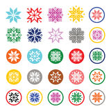 Colorful pixelated snowflakes, Christmas icons Royalty Free Stock Image