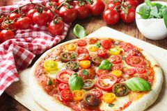 Colorful Pizza Margherita Royalty Free Stock Photography