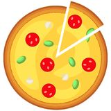 Colorful pizza slice fast food icon poster. Royalty Free Stock Images