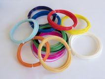 Colorful PLA plastic. Color plastic PLA filament for printing on a 3D printer royalty free stock image