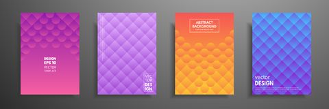 Colorful placard templates set with graphic geometric elements. Applicable for brochures, flyers, banners, covers. Notebooks, book and magazine Stock Photos