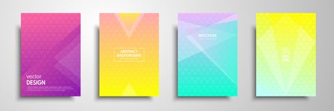 Colorful placard templates set with graphic geometric elements. Applicable for brochures, flyers, banners, covers. Notebooks, book andmagazine Royalty Free Stock Photo