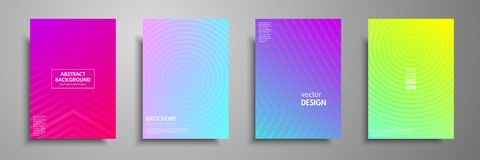 Colorful placard templates set with graphic geometric elements. Applicable for brochures, flyers, banners, covers, notebooks, book. And magazine Royalty Free Stock Image
