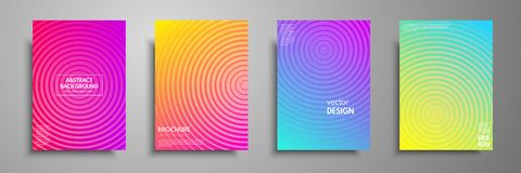 Colorful placard templates set with graphic geometric elements. Applicable for brochures, flyers, banners, covers, notebooks, book. And magazine Royalty Free Stock Photography