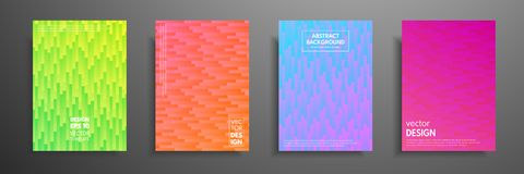 Colorful placard templates set with graphic geometric elements. Applicable for brochures, flyers, banners, covers. Notebooks, book and magazine Royalty Free Stock Photo