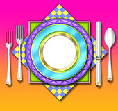 Colorful place setting Stock Images