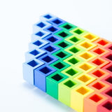 Colorful plactic block close up Stock Photo