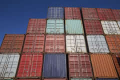 Colorful plain shipping containers Royalty Free Stock Images